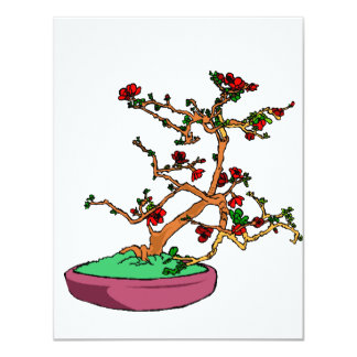 Flowering bonsai leaning tree in pot personalized announcement