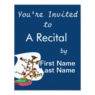 Flowering bonsai leaning tree in pot personalized invite