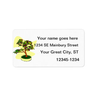 Flowering Bonsai Purple With Background Address Label