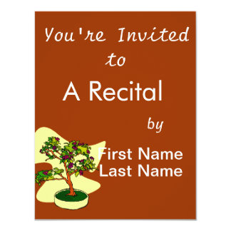 """Flowering Bonsai Purple With Background 4.25"""" X 5.5"""" Invitation Card"""