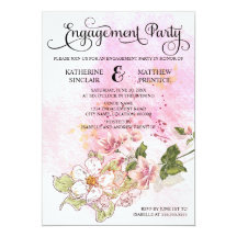 """Flowering Branch Engagement Party 5"""" X 7"""" Invitation Card"""
