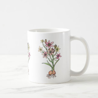 Flowering bulbs in muted tones of pinks and peach coffee mug