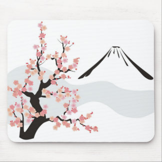 flowering cherry in front of Mt.Fuji Mouse Mat