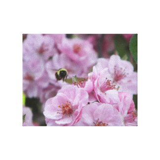 flowering crab tree and bee gallery wrap canvas