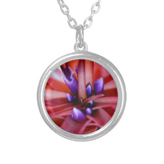 Flowering epiphyte plant in pink and purple shades silver plated necklace