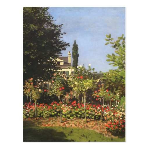 Flowering Garden at Sainte Adresse by Claude Monet Postcard