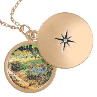 Flowering Garden with Path, van Gogh Locket Necklace