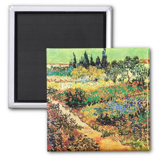 Flowering Garden with Path, Vincent van Gogh Square Magnet