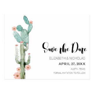 Flowering Love - Cactus Photo Save The Date Postcard