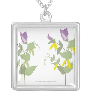 Flowering Pea Plants Silver Plated Necklace