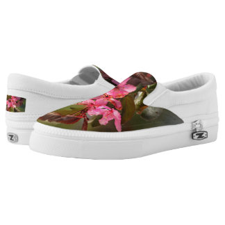 Flowering Peach Blossom Slip On-Shoes US-Women Printed Shoes