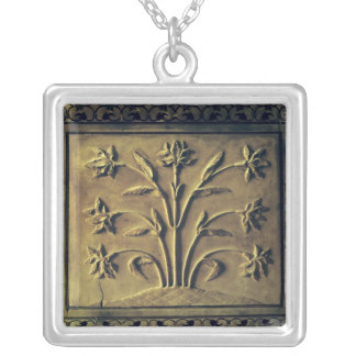 Flowering plant, detail panel silver plated necklace