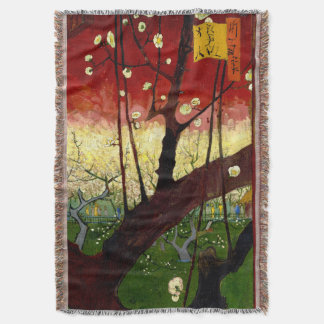 Flowering Plum Tree after Hiroshige by Van Gogh Throw Blanket