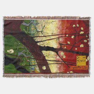 Flowering Plum Tree after Hiroshige by Van Gogh Throw Blanket