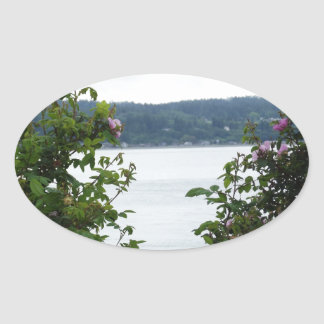 Flowering Shrubs on the Water Oval Sticker