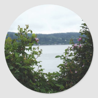 Flowering Shrubs on the Water Round Sticker