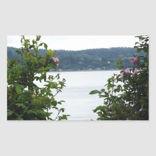 Flowering Shrubs on the Water Rectangle Stickers