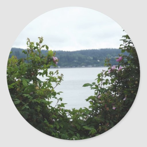 Flowering Shrubs on the Water Round Stickers