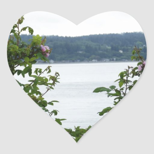 Flowering Shrubs on the Water Heart Sticker