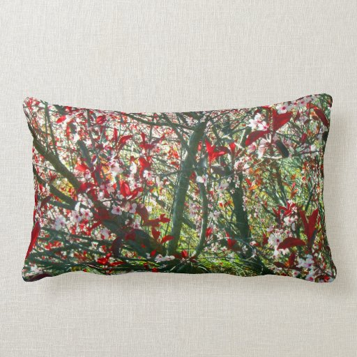 FLOWERING SPRING TREE WHITE BLOSSOMS W REDLEAVES THROW PILLOW