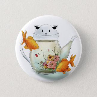 Flowering Tea in a Cat Teapot and Goldfish 6 Cm Round Badge