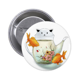 Flowering Tea in a Cat Teapot and Goldfish 6 Cm Round Badge