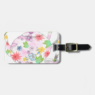 Flowering Tea Pot Illustration Drawing Luggage Tag