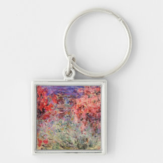 Flowering Trees near the Coast Silver-Colored Square Key Ring