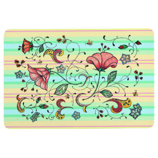 Flowering vines on ctrasting stripes floor mat