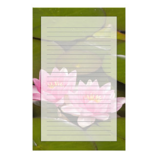 Flowering water lilies customized stationery