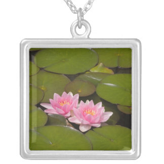 Flowering water lilies silver plated necklace