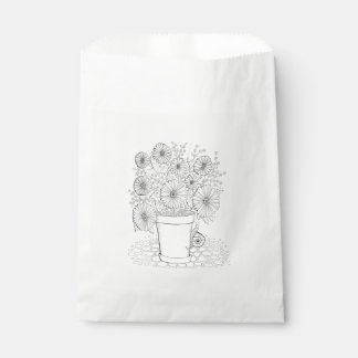 Flowerpot And Snail Line Art Design Favour Bags