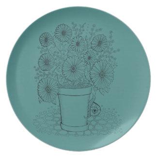 Flowerpot Snail Line Art Design Plate