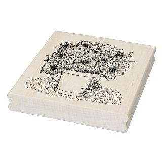 Flowerpot & Snail Rubber Stamp