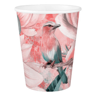 flowers2bflowers and birds pattern #flowers paper cup
