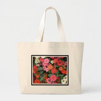 Flowers 15 framed version, colorful flowers bloomi jumbo tote bag