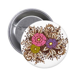 Flowers 6 6 cm round badge