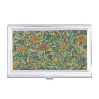 Flowers against leaf camouflage pattern business card holder