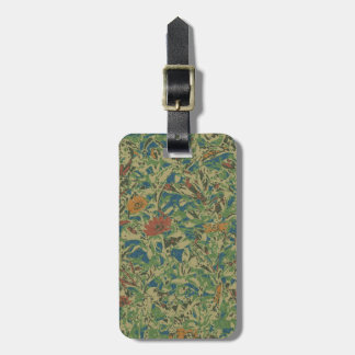 Flowers against leaf camouflage pattern luggage tag