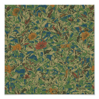 Flowers against leaf camouflage pattern poster