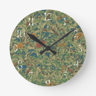 Flowers against leaf camouflage pattern round clock