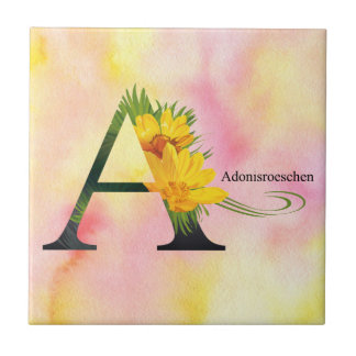 Flowers Alphabet with Watercolor Background - Lett Small Square Tile