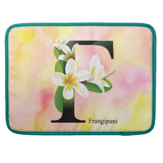 Flowers Alphabet with Watercolor Background Sleeve For MacBook Pro