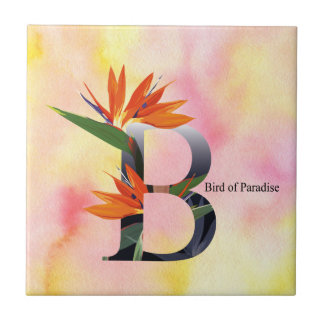 Flowers Alphabet with Watercolor Background Small Square Tile