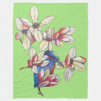 flowers and a bird fleece blanket