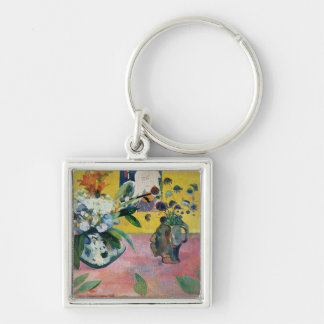 Flowers and a Japanese Print, 1889 Silver-Colored Square Key Ring