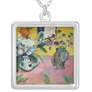 Flowers and a Japanese Print, 1889 Silver Plated Necklace