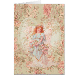 Flowers and Angel Vintage Collage Greeting Card
