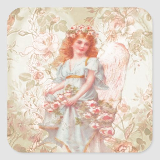 Flowers and Angel Vintage Collage Square Stickers