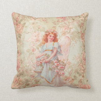 Flowers and Angel Vintage Collage Throw Pillow
